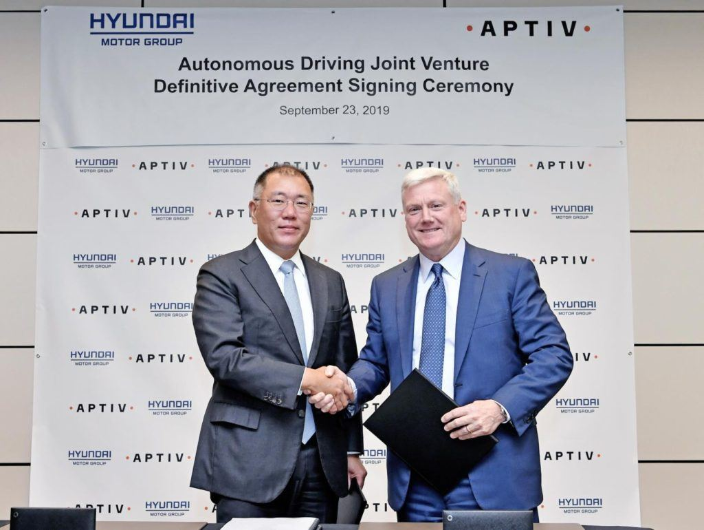 "Hyundai Motor Group and Aptiv PLC have announced their new autonomous driving joint venture will be called ""Motional."" Euisun Chung (left), Executive Vice Chairman, Hyundai Motor Group, and Kevin Clark, President and Chief Executive Officer, Aptiv at Goldman Sachs headquarters in New York."