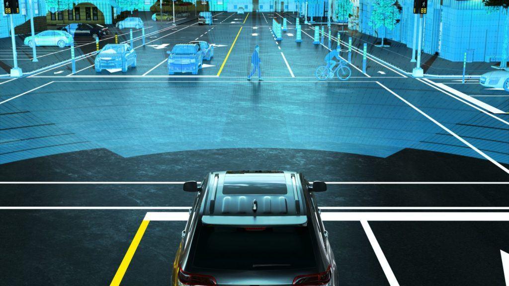 Autonomous car sensing its environment.