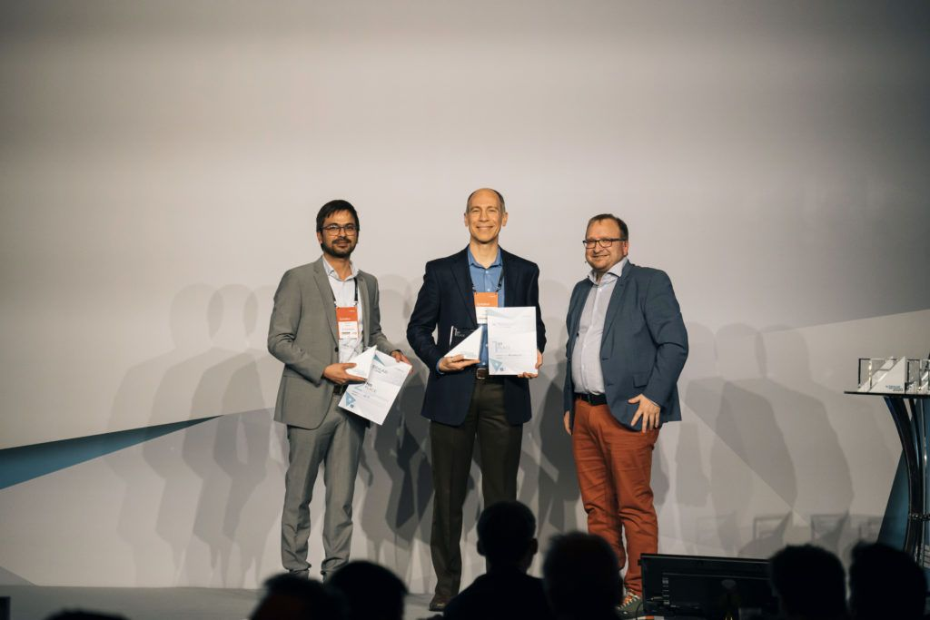 Algolux VP of Marketing Dave Tokic accepts the first prize at the Tech.AD Europe Awards 2020.