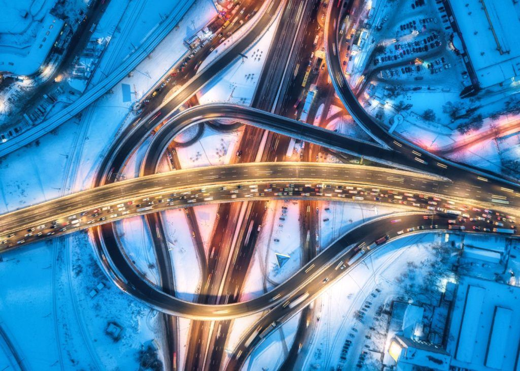 Aerial view of a busy interstate.