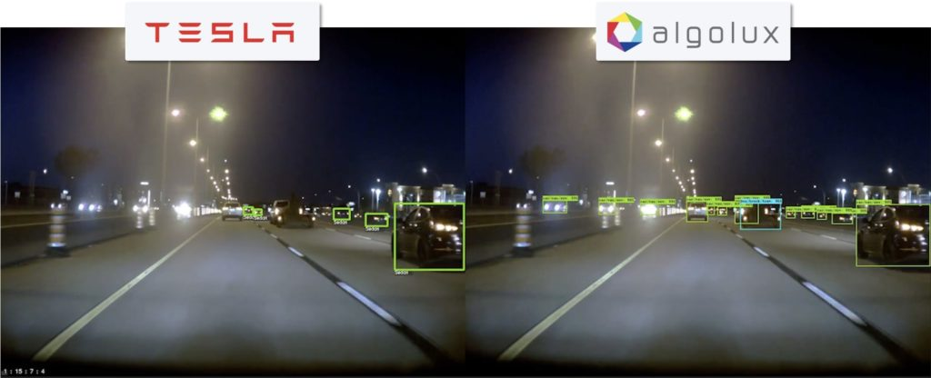 Low-light detection comparison: Tesla Model S Autopilot (camera/radar fusion + tracking) vs. Algolux Eos perception (camera-only).