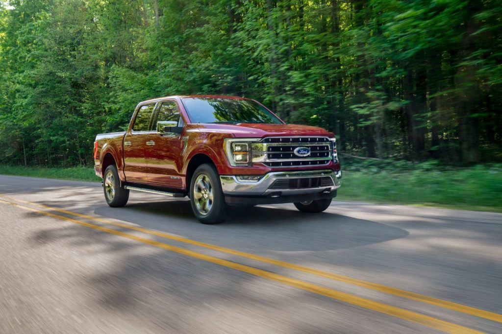 2021 Ford F-150 on the open road.