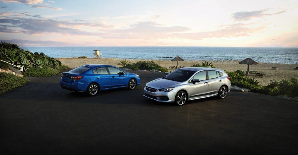 2021 Subaru Impreza sedan (left) and five-door hatchback.