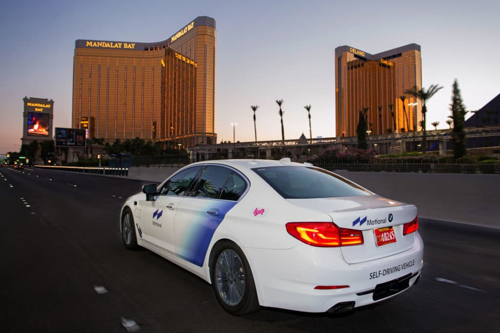 A Motional & Lyft robotaxi travels through Las Vegas.