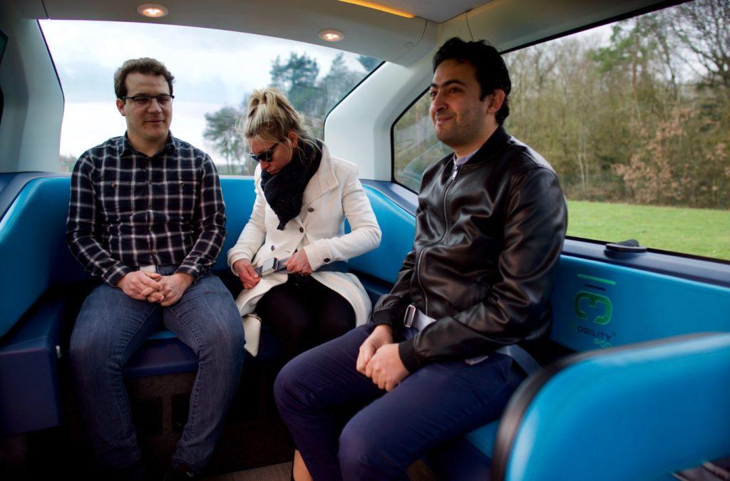Passengers take a ride in the autonomous MILLA POD.