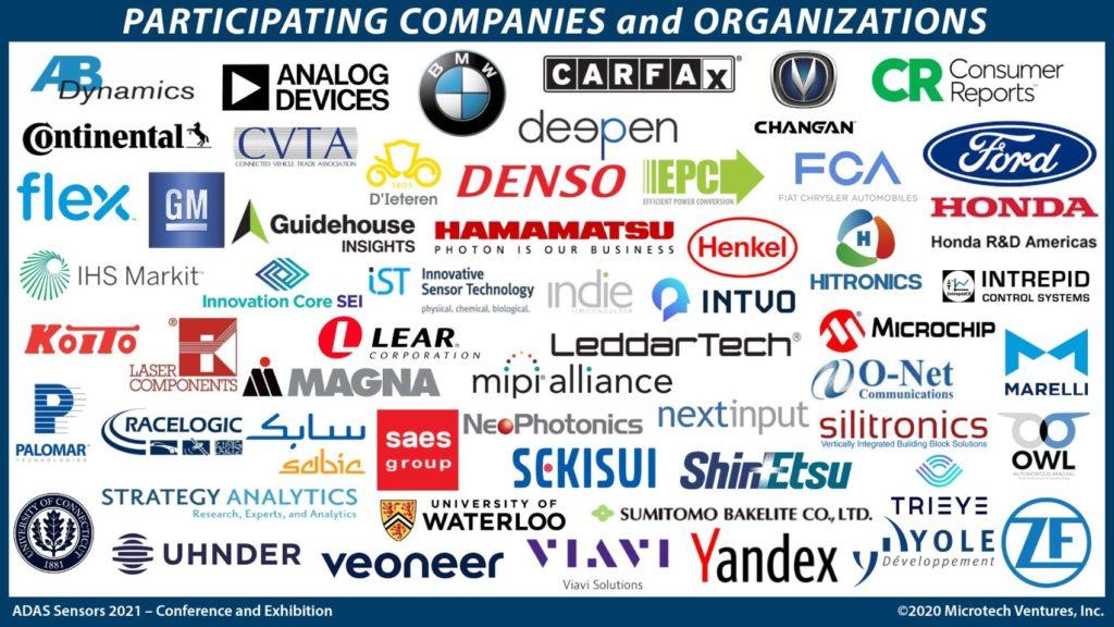 ADAS Sensors 2021 participating companies.