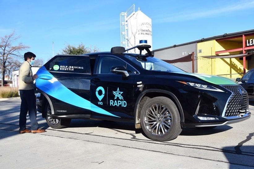 May Mobility Lexus RX450h autonomous shuttle vehicle.