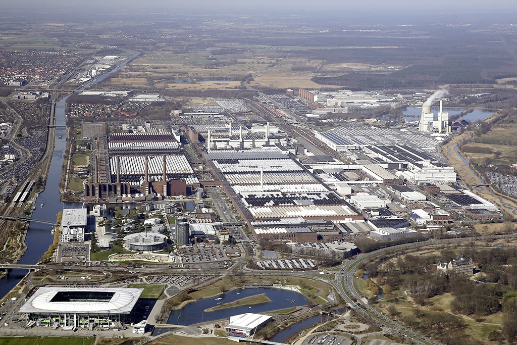 Aerial view of the Wolfsburg plant where VW intends to start Project Trinity production in 2026.