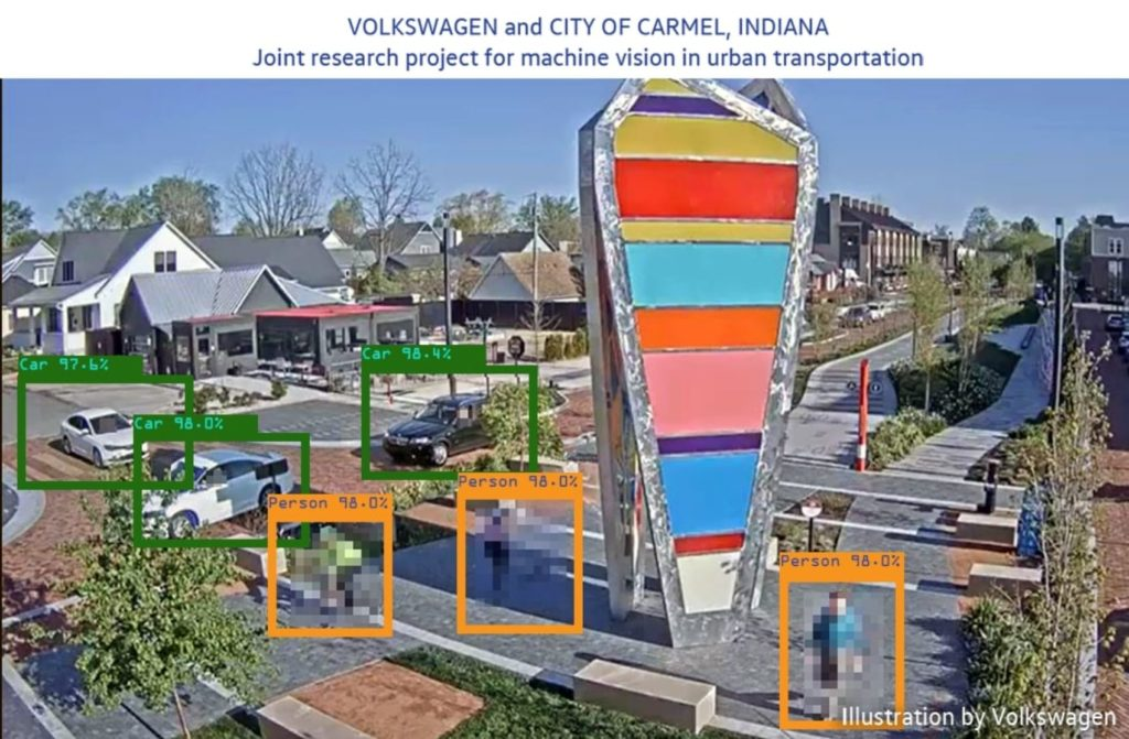Volkswagen teams with Carmel, Indiana, to test new machine vision software for city streets and traffic.