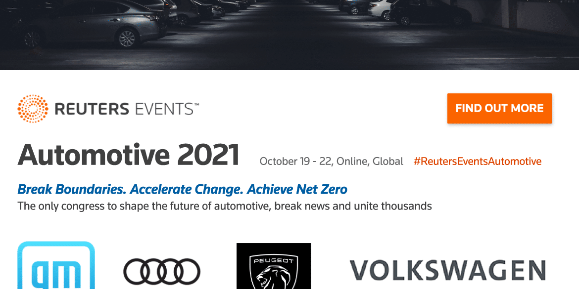 Reuters Events to Unite Industry Leaders During Automotive 2021 Congress in October 16
