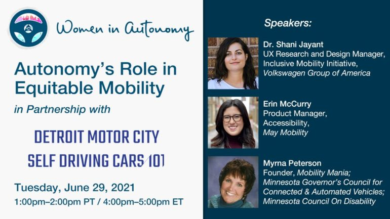 Women in Autonomy to Present Virtual Panel on Equitable Transportation & Mobility 16