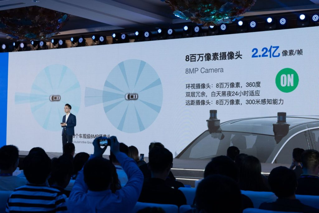 Dr. Jianxiong Xiao, AutoX founder and CEO, speaks during the launch of the Gen5 system at the Crowne Plaza Shanghai Anting.