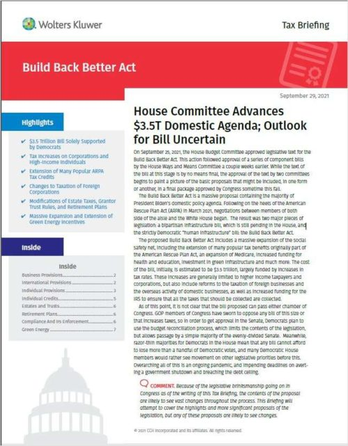Build Back Better Act: Free Tax Briefing Report From CCH AnswerConnect 17