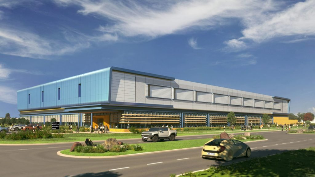 Architectural rendering of the completed first phase of GM's Wallace Battery Cell Innovation Center.